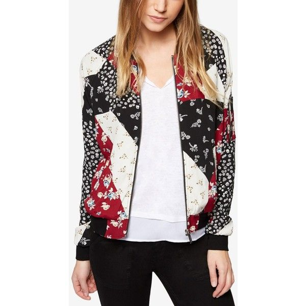 Sanctuary Printed Patchwork Bomber Jacket, Created for Macy's ($139) ❤ liked on Polyvore featuring outerwear, jackets, camp patchwork, patchwork jacket, style bomber jacket, pattern jacket, bomber jackets and patterned bomber jacket