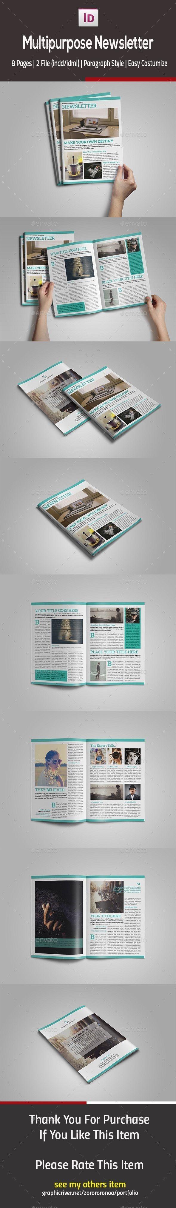 Multipurpose InDesign Newsletter Template InDesign INDD #design Download: http://graphicriver.net/item/multipurpose-indesign-newsletter/13305894?ref=ksioks