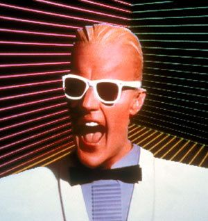 """Max Headroom.A computerised,talking head.He had this """"electronic """" voice. God, he annoyed me."""