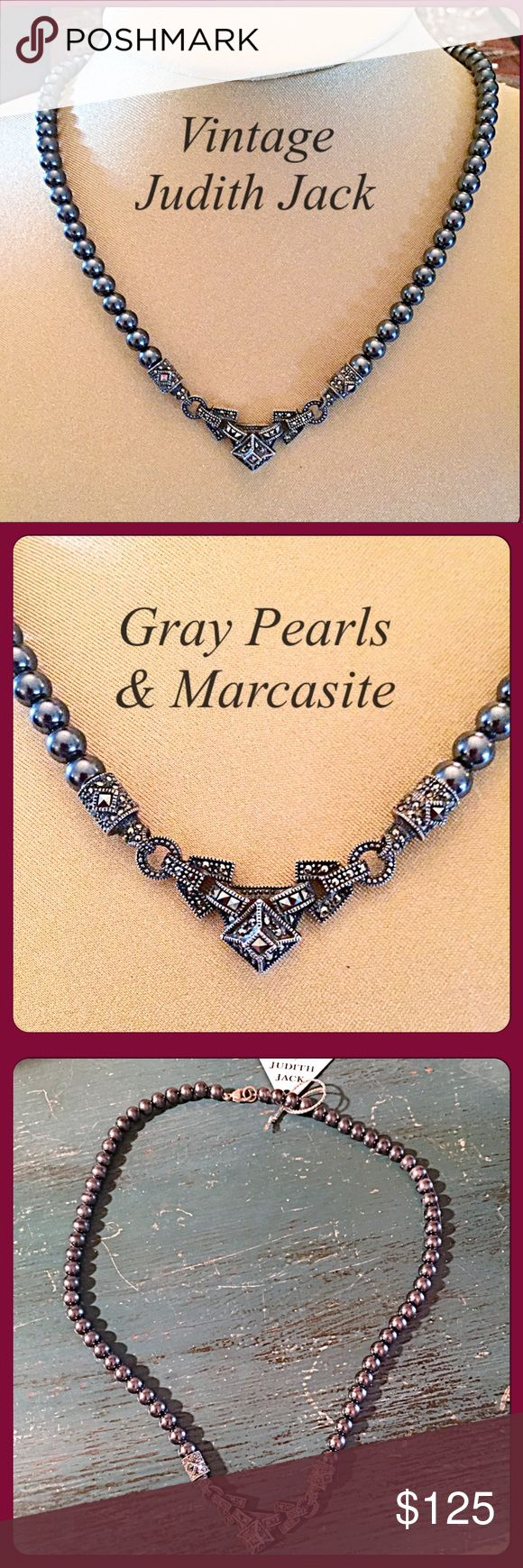"❤️VTG Judith Jack Pearl & Marcasite Necklace❤️ This is a stunning necklace in person. It's hard to capture the beauty of the Art Deco style marcasite set in .925 sterling silver. The gray pearls are beautiful too and the nacre still looks nice & polished on all of them. I think they're 6mm in size. The length of the necklace is 18"" w/a lobster claw clasp. Hallmark ""Sterling"" & JJ stamp in triangle as shown. Purchased over 20 years ago and in excellent condition. Worn 2-3x over the years but…"