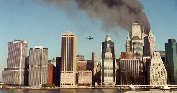 """United Airlines Flight 175 heading towards the south tower of the World Trade Center / this article is a whole collection of stories and quotes from the Columbia Center for Oral History / """"What is amazing is that in that moment, there was a moment before — that we saw that plane, that second plane — and there was a moment after, and it's like two different worlds, those two moments. I mean, literally, I can feel like I can remember the exact second when the whole world changed and my life…"""
