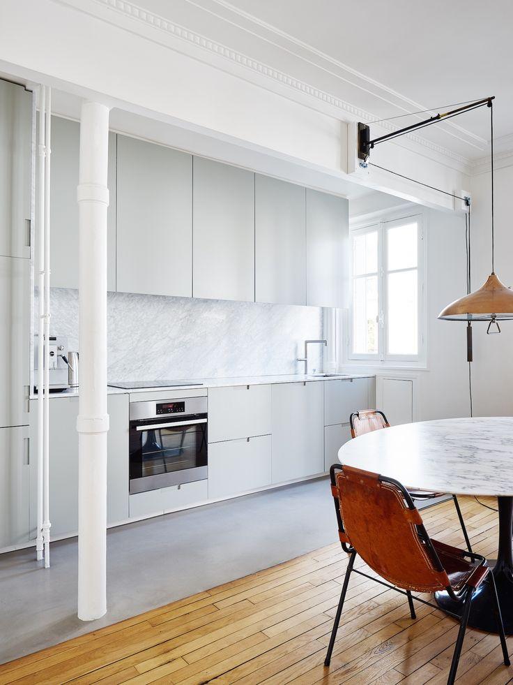 Hubert Home in Paris, Minimal Kitchen, Leather Chairs