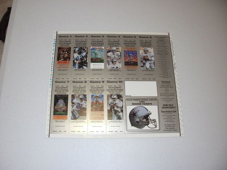 1998 #Dallas Cowboys Souvenir Season Ticket Sheet Featuring Hofers from $20.0