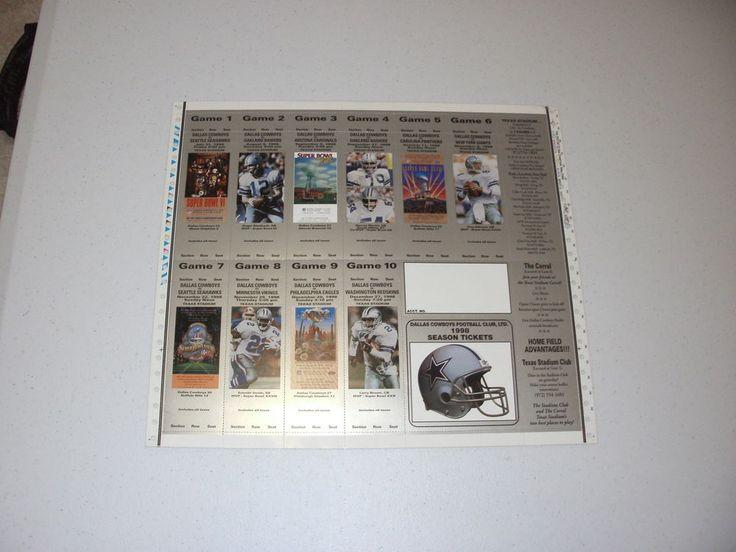 1998 #Dallas Cowboys Souvenir Season Ticket Sheet Featuring Hofers from $20.0