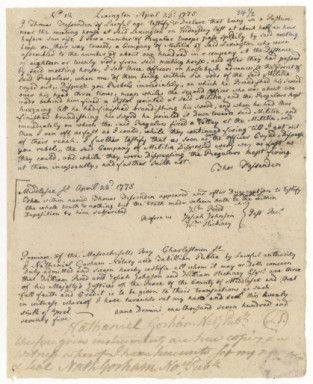 Deposition #12 of Thomas Fessenden Regarding the Events of April 18 and 19, 1775 at Lexington and Concord, Massachusetts Bay Colony