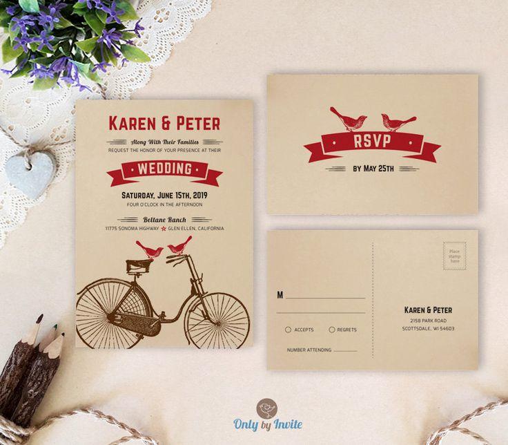 kraft wedding invitation sets printed bicycle wedding invitations with rsvp bird wedding cards cheap