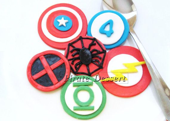 Edible SUPERHERO Cupcake Toppers  Set -  Iconic Super Hero cupcake decorations - COMIC BOOK Cupcakes (6 pieces). $16.00, via Etsy.
