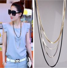 2015 Hot Selling collares Fashion New Vintage Style Multi-layer Women Silver Gold Multi-Chain Tassel Necklace Long Chain bijoux(China (Mainland))