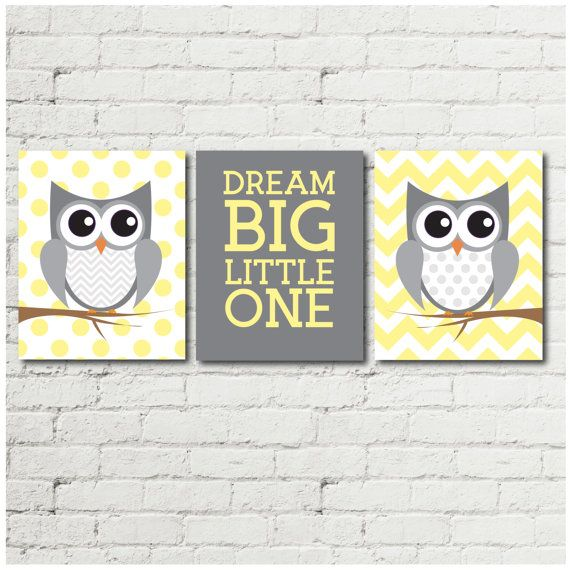 Add a touch of whimsy with this lovely set of owl prints. This beautiful yellow and grey print set would make a lovely addition to the decor of