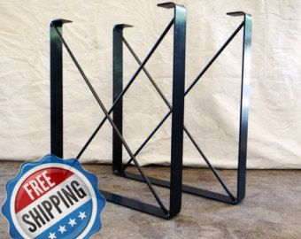 SET of 2 Metal Dining Table Legs U Shaped by TimberForgeWoodworks