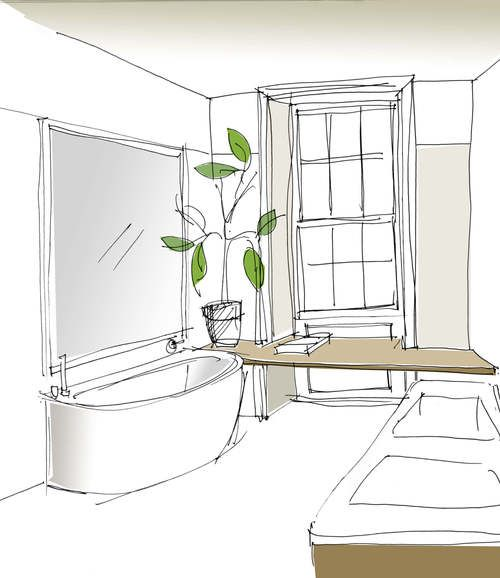 emily bizley interior design bathroom sketch - Interior Design Sketches