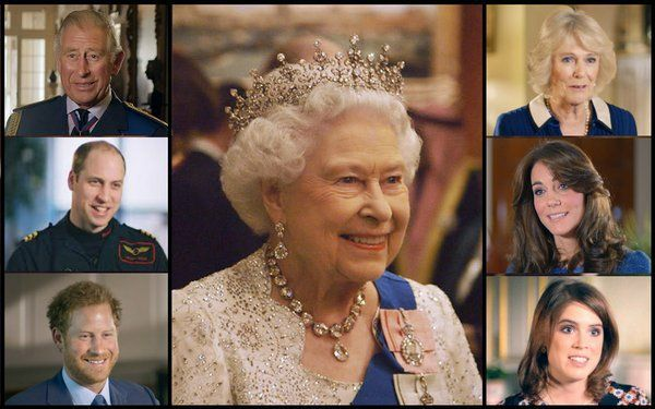 """British Royals (@britishroyals) on Twitter:  Queen Elizabeth surrounded by the Prince of Wales, Duchess of Cornwall, Duke and Duchess of Windsor, Prince Harry and Princess Eugenie, who contributed to the documentary """"Our Queen at 90"""""""