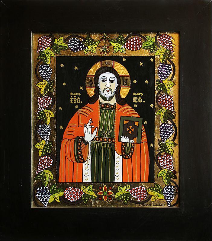 Iisus Hristos 1 - Icoane pe sticla Sapanta - Ioana Lutai - foto Cristina Nichitus Roncea