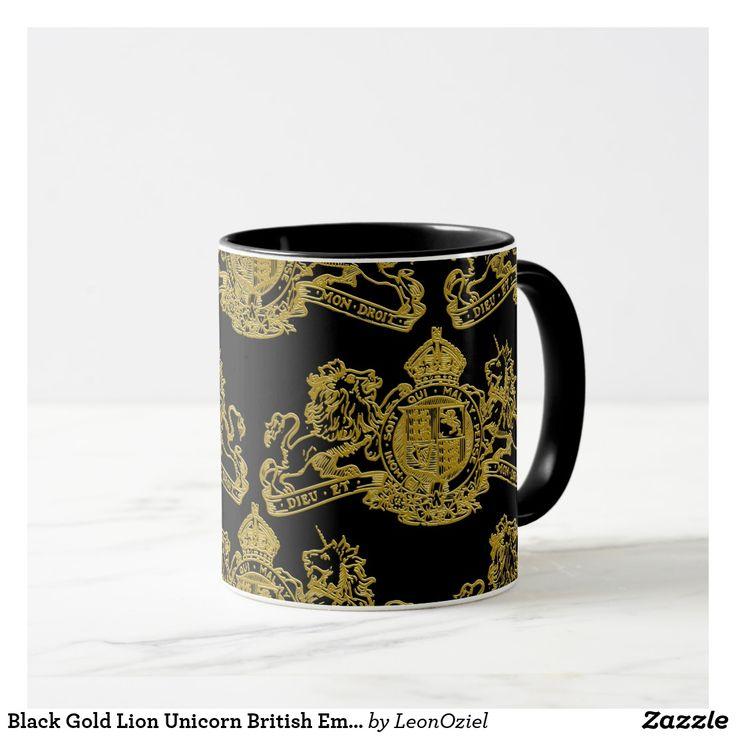 Black Gold Lion Unicorn British Emblem Regal Mug