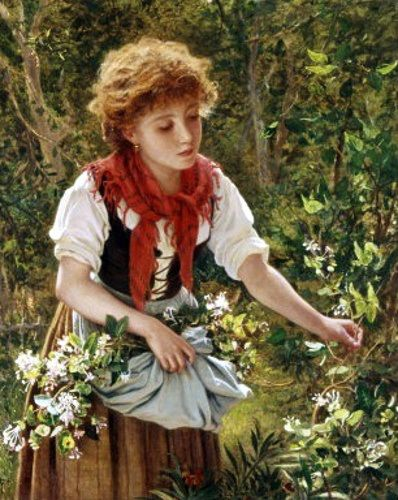 "Pre-Raphaelite Painting:  ""Picking Honeysuckle,"" by Sophie Gengembre Anderson (French, 1823 - 1903). #Pre-Raphaelite."