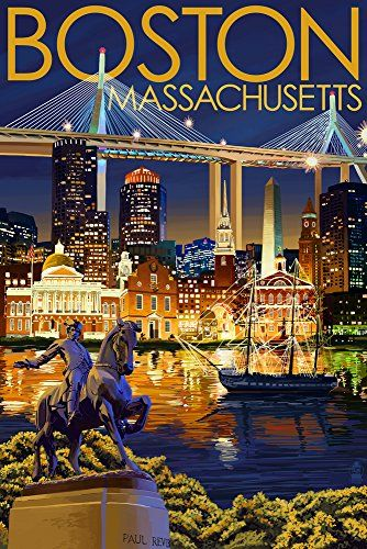 Boston Massachusetts - Skyline at Night (16x24 Giclee Gallery Print Wall Decor Travel Poster)