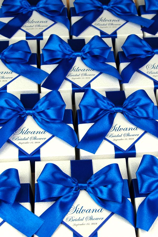 Bridal Shower Or Wedding Favor Boxes With Royal Blue Satin Ribbon Bow And Custom Tag Elegant Personalized Wedding Favor Box For Guests With Images Personalized Wedding Favor Box