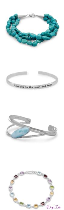 Love these bracelets!  Beautiful! waybliss.com offers a large selection of fine jewelry for men, woman, and kids. Earrings, bracelets, necklaces, pendants, rings, gemstones, and birthstones mounted in fine #Sterlingsilver or #gold plated. Shop Way Bliss for the cutest designs in the most beautiful #jewerly.