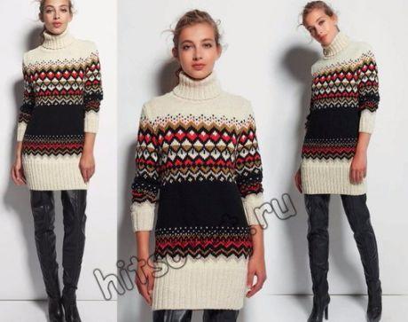 Жаккардовый свитер-туника    Модная модель спицами для девушки свитер туника с жаккардовым узором со схемой и бесплатным описанием вязания.    Вам потребуется: по 5 (6, 7, 8, 9) мотков белой (Naturel 0380) и чёрной (Noir 0383); по 1 (1, 2, 2, 2) мотка бежевой (Cailloux 1262), жёлтой (Ceylan 1022) и красной (Rouge 0507) пряжи Аnnу Blatt Merinos № 5, состоящей из 100 % шерсти, длиной нити 82 метра в 50 граммах; спицы № 4,5.  Показать полностью…