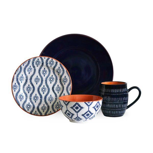 Blue Stoneware Dinnerware Set 16 Piece Service For 4 Kitchen Dining Meals Dishes #BaumDinnerwareSet  sc 1 st  Pinterest & 17 best Dinnerware Sets images on Pinterest | Kitchen dining ...