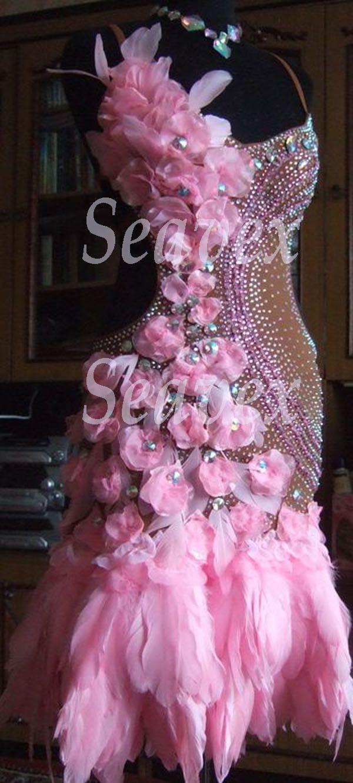 Competition Feather Latin Cha Cha Ramba Dance Dress US 8 UK 10 Skin Pink Flowers | eBay