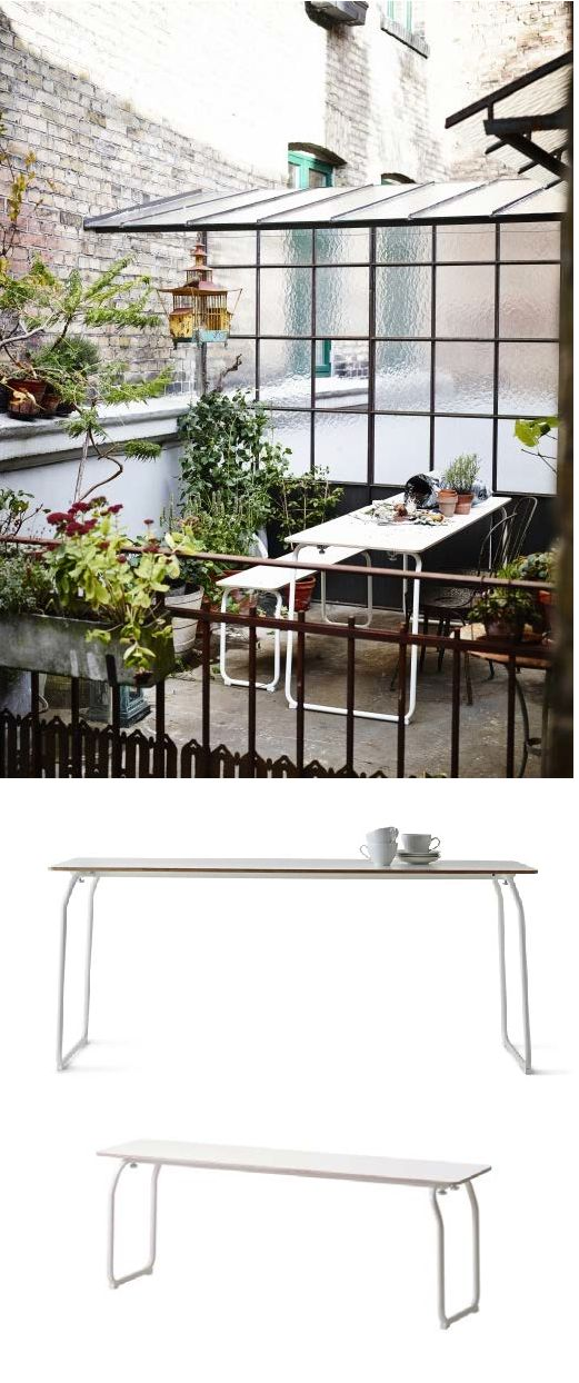 "IKEA PS folding table and bench. ""I was inspired by the functionality of the furniture in German beer gardens. The bench and table are designed for domestic environments, outdoors and indoors. Versatile everyday furniture – easy to store and move around – rather than a temporary solution that is hidden away most of the time. By using a construction with bent tubes and a durable laminated surface we created a sophisticated yet simple solution for everyday use."" Designer: Mathias Hahn"