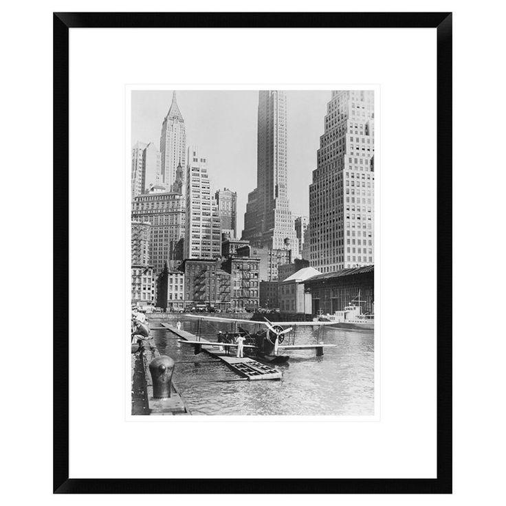 Global Gallery Airplane Landing in Manhattan 1935 Framed Wall Art - DPF-375420-1824-266