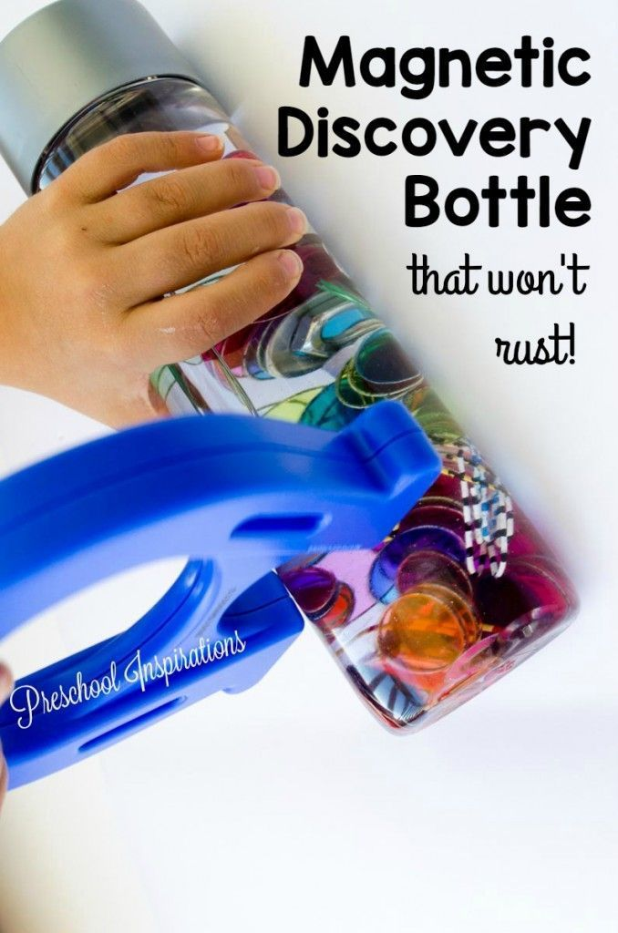 STEM Magnetic Rust-Free Discovery Bottle by Preschool Inspirations. This makes a perfect sensory bottle and an activity that is great for all ages.