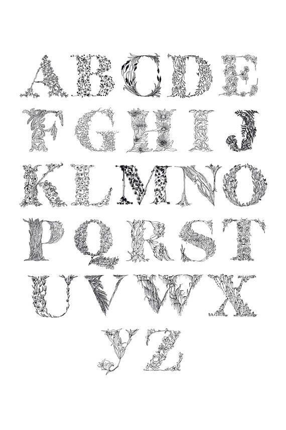 Art Print of original line drawing    Floral Alphabet