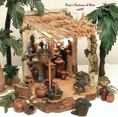 "FONTANINI ITALY 5"" RETIRED 4PC WINEMAKER'S SHOP NATIVITY VILLAGE BLDG 55526 BOX"