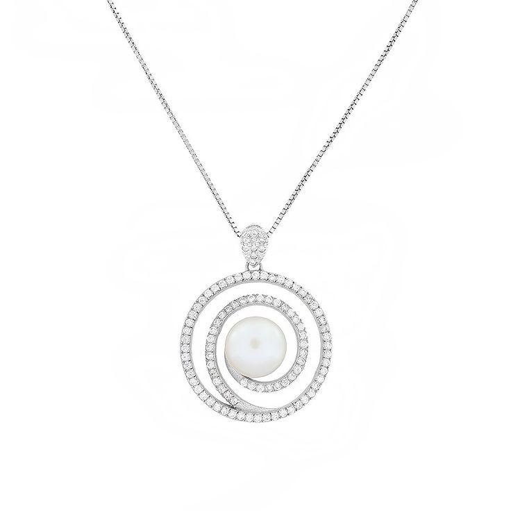 Pavé Spiral Pearl Pendant | AZENDI™ Store