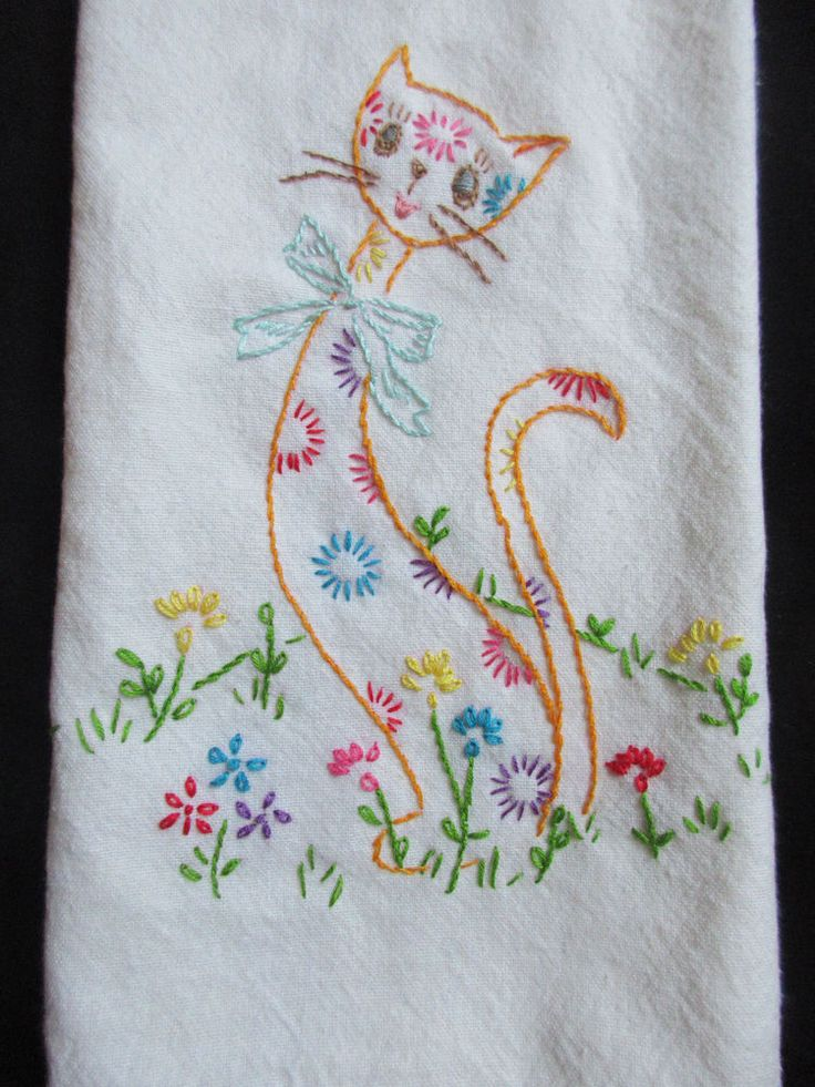 VINTAGE INSPIRED HAND EMBROIDERED FLORAL CAT ON COTTON KITCHEN HAND TOWEL  | eBay