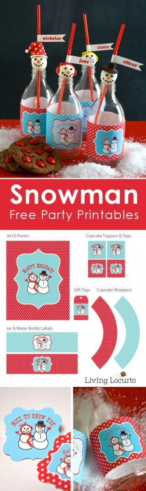 Plan a Holiday party with Free Snowman Party Printables, Gift Tags and a cute craft to make your celebration more festive this Christmas season! by @livinglocurto #christmas #party #printables