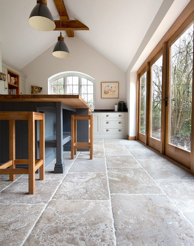 Bordeaux Aged Chateau French Limestone Tiles Kitchen In