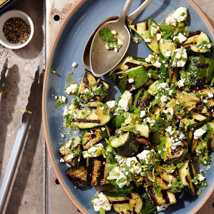 Grilled Zucchini with Lemon-Herb Feta Recipe | Weight Watchers