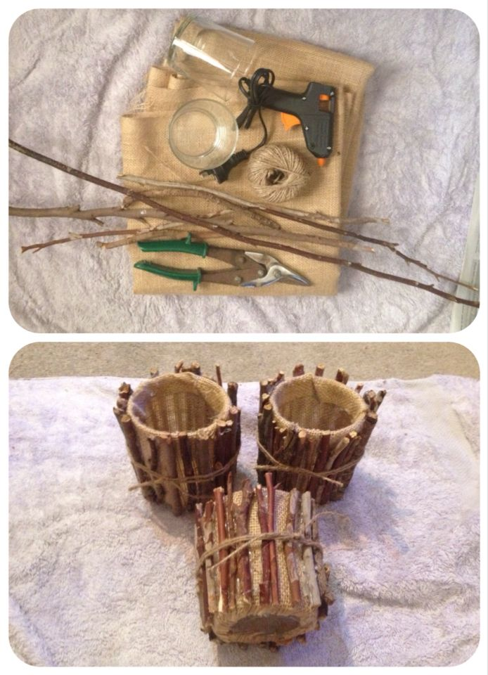 Pencil pots for my Friendly Forest classroom.  Materials: twigs from the garden, drinking glasses, hessian, hot glue and twine. #natural #classroom #teacherlife