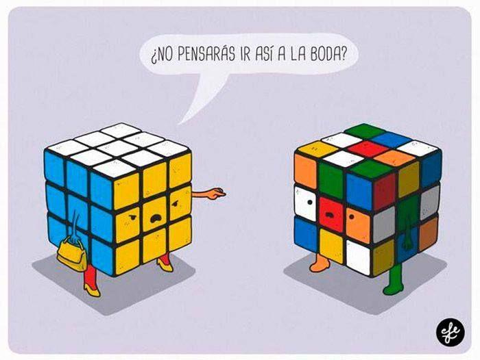 Cubo de Rubic ¿No pensarás que vas a ir así a la boda?#Ilustraciones #Humor frases e imágenes divertidas y graciosas