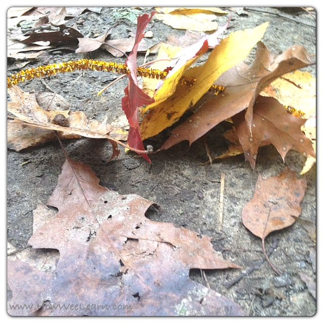 """Leaf Sewing on Pipe-Cleaners - this is nice to do on sticks too... from How Wee Learn ("""",)"""