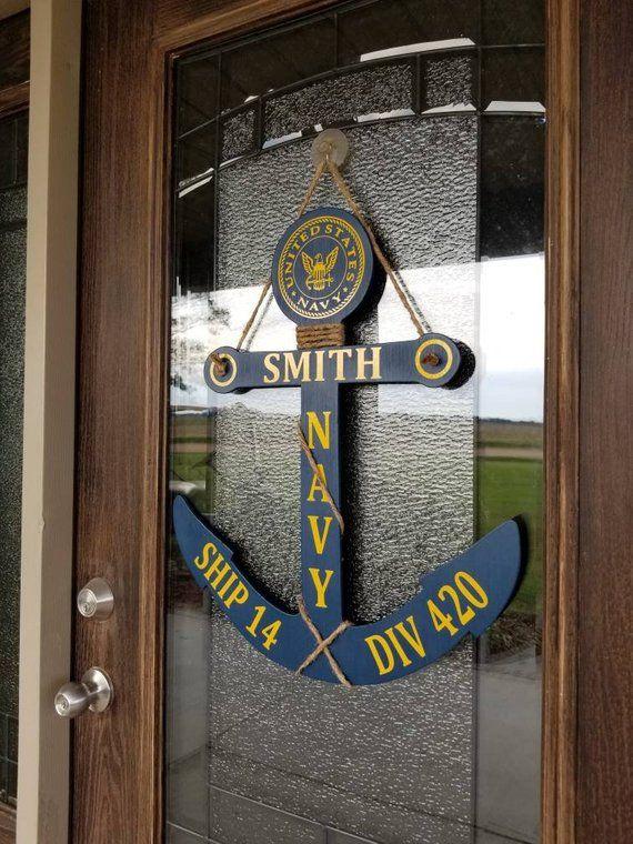 Personalized Us Navy Anchor Door Hanger Pir Gift Sailor Gift Etsy