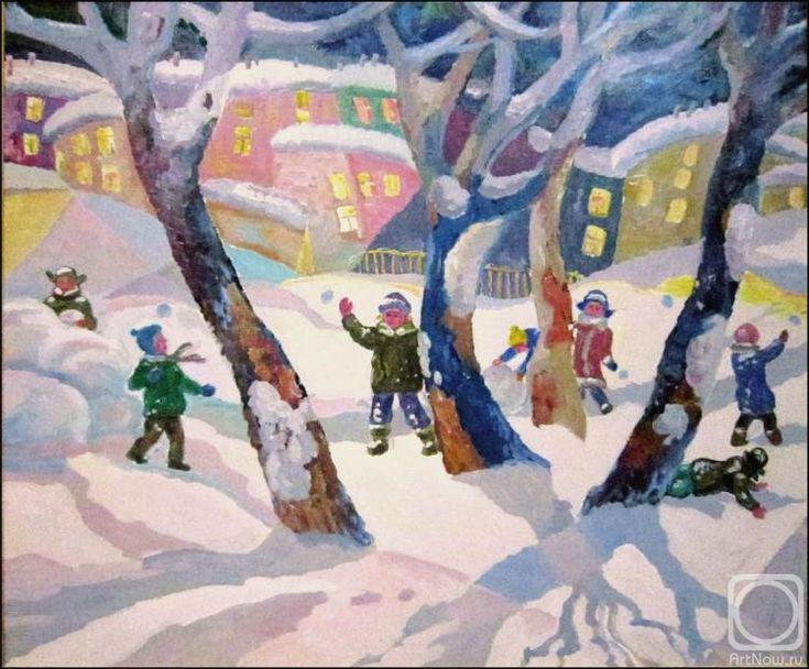 Иванов Александр. Дети играющие в снежки