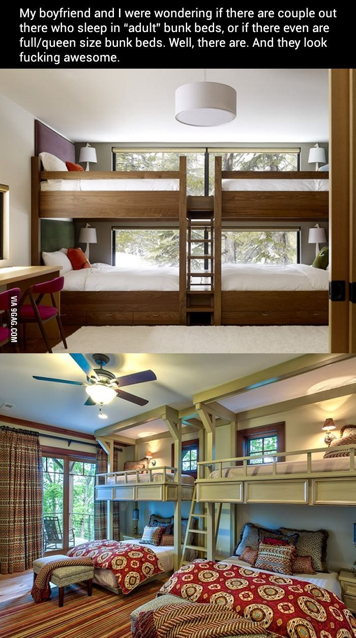 Queen size bunk beds. I'm thinking great for guests. Just not for me!!