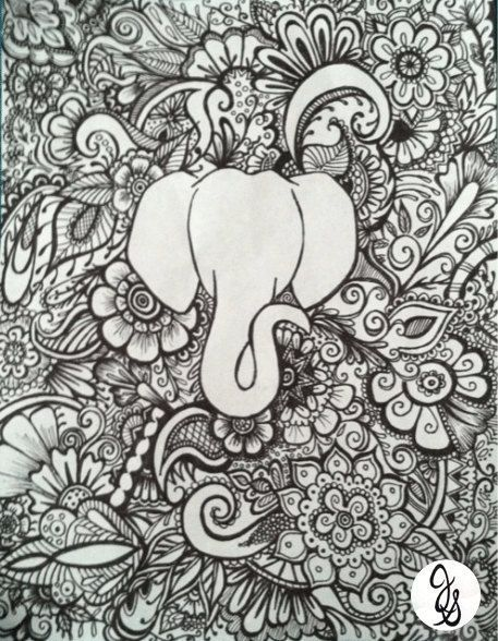 Elephant Floral Design By Byjamierose March ColorsAdult ColoringColoring