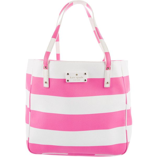 Pre-owned Kate Spade New York High Falls Sidney Tote (€185) ❤ liked on Polyvore featuring bags, handbags, tote bags, pink, striped tote bag, striped tote, tote purses, stripe tote bag and zip tote bag
