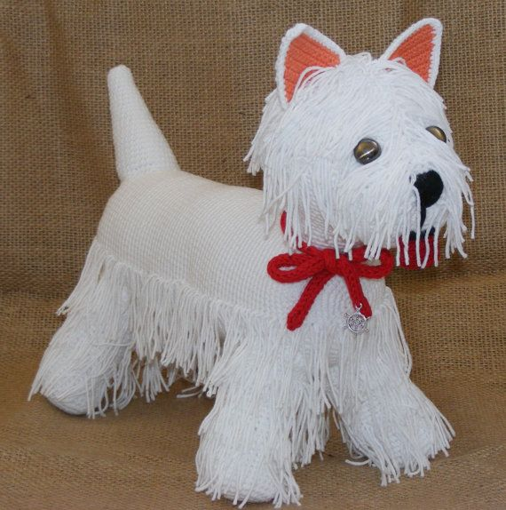 Westie terrier, crochet dog, westie collectibles, white terrier crocheted, stuffed puppy, big terrier with red tape, unique Valentine's gift