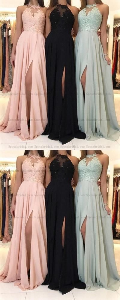 Amazing 2019 Charming Lace Halter Long Chiffon Split Evening Gowns Formal Prom – Sposa…