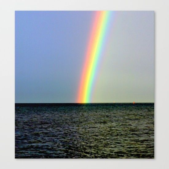 Rainbow, Seascape, Buoys, Horizon, Nature, Sky, Photography.   Port Philip Bay, Melbourne, Australia.
