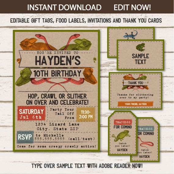 Reptile Invitations Reptile Food Labels Reptile Gift Tags $12.50 #ReptileInvitations #ReptileFoodLabels #ReptileGiftTags #Corjl