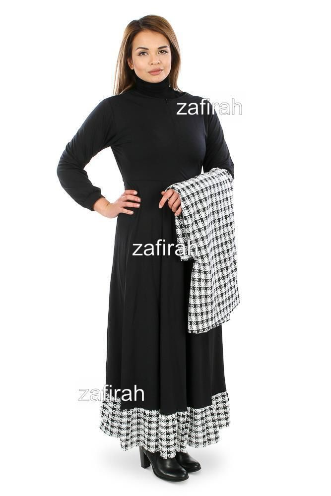 Women  Dubai Jersey Abaya Farasha Jilbab Kaftan Maxi Dress with matching Hijab #Zafirah
