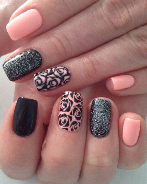 Black and pink nails, Charming nails, Contrast nails, Dating nails, Everyday nails, Funky nails, Glitter nails ideas, Original nails
