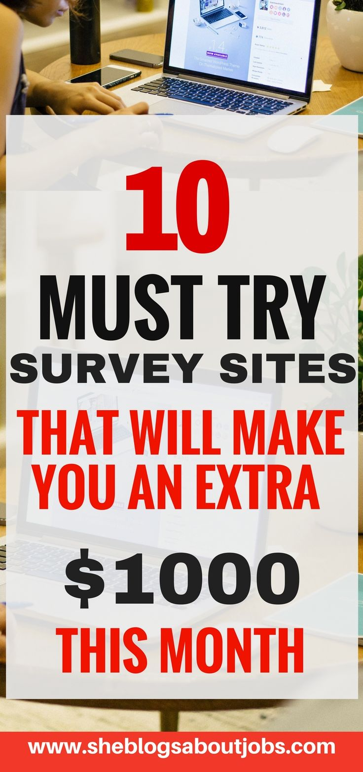 Click this image to read of 10+ must try surveys websites that can make you an as much as $1000 in extra money this month| Paid surveys| Great Side hustle ideas for extra cash